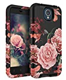 zte prelude 2 cell phone - TIANLI ZTE Prestige 2 Case,ZTE Maven 3 Case,ZTE Overture 3 Case,ZTE Prelude Plus Case Cute Flowers for Girls/Women Smooth Surface Three Layer Shockproof Protective Cover,Floral Black