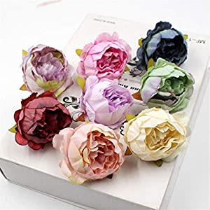 Hozhang 5Pcs/Lot 5Cm Peony Flower Head Silk Artificial Flower Wedding Decoration DIY Garland Craft Flower 75