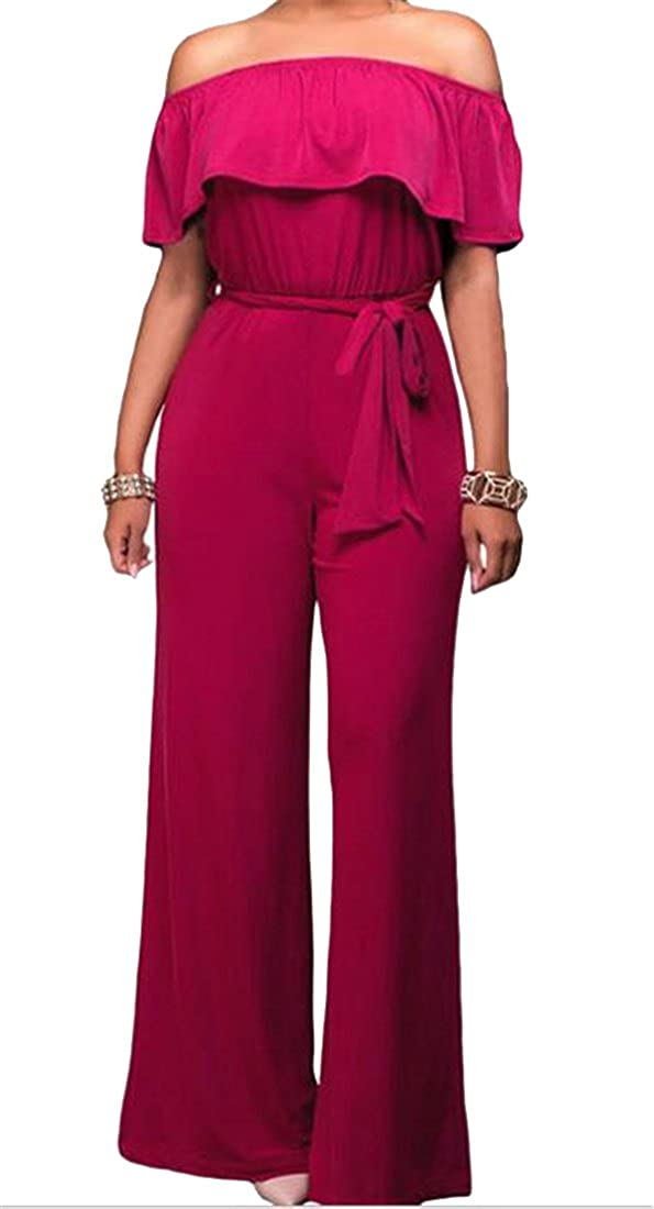 SHOWNO Womens Off Shoulder Solid Color Tunic Slim Wide Leg Backless Ruffle Jumpsuit Romper