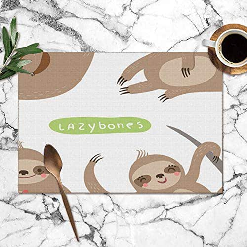 X-Large Set Sloths Funny Cute Lazy Animals Wildlife Sloth The Arts Table Placemats for Dining Table,Washable Table Mats Heat-Resistant(12X18 Inch) Set of 6