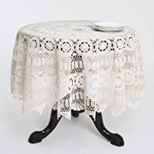 """Fennco Styles Handmade Crochet Lace Cotton Tablecloth (36"""" Round Table Topper, Ecru)"""
