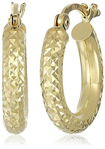 10k Yellow Gold 3mm Diamond Cut Round Tube Hoop Earrings