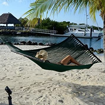 Tropic Island Large Soft Spun Polyester Forest Green Caribbean Hammock with FREE Hanging Hardware