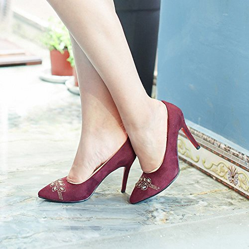Charm Foot Womens Pointed Toe High Heel Rhinestone Pumps Shoes Wine Red oAs56k
