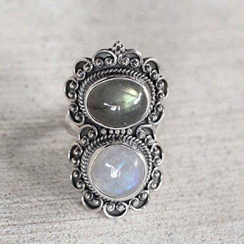 - Rainbow Moonstone, Labradorite Pure 92.5 Solid Sterling Silver Ring Size 3-13 US