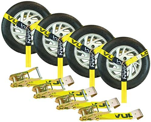 VULCAN Car Tie Down – Flat Hooks – Lasso Style – 2 Inch x 96 Inch, 4 Pack – Classic Yellow – 3,300 Pound Safe Working Load