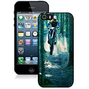 NEW Unique Custom Designed iPhone 5S Phone Case With Motocross Jump Forest_Black Phone Case