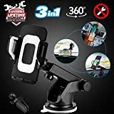 Car Phone Mount, 3-in-1 Cell Phone Holder Smartphone Car Air Vent Mount Holder Cradle Dashboard Mount Windshield Mount 360°Adjustable Rotating Cell Phone Mount for iPhone Samsung Google Huawei GPS