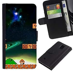 Mario Mushroom - la tarjeta de Crédito Slots PU Funda de cuero Monedero caso cubierta de piel Para Samsung Galaxy Note 4 IV