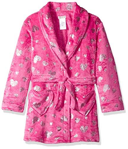 Komar - Albornoz de Terciopelo para niñas, Color Rosa, Hearts, Small