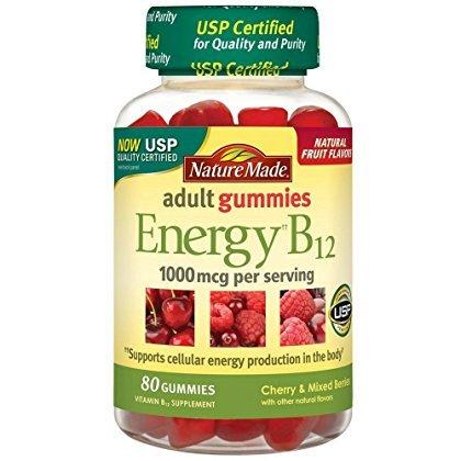 Nature Made Energy B-12 Adult Gummies, Cherry & Wild Berries 80 ea(Pack of 3)