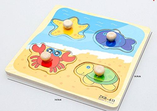 desarrollo de inteligencia reconocimiento de animales juguete educativo temprano Wimagic 1x rompecabezas de madera Wimagic con dise/ño de ladrillo de dibujos animados rompecabezas