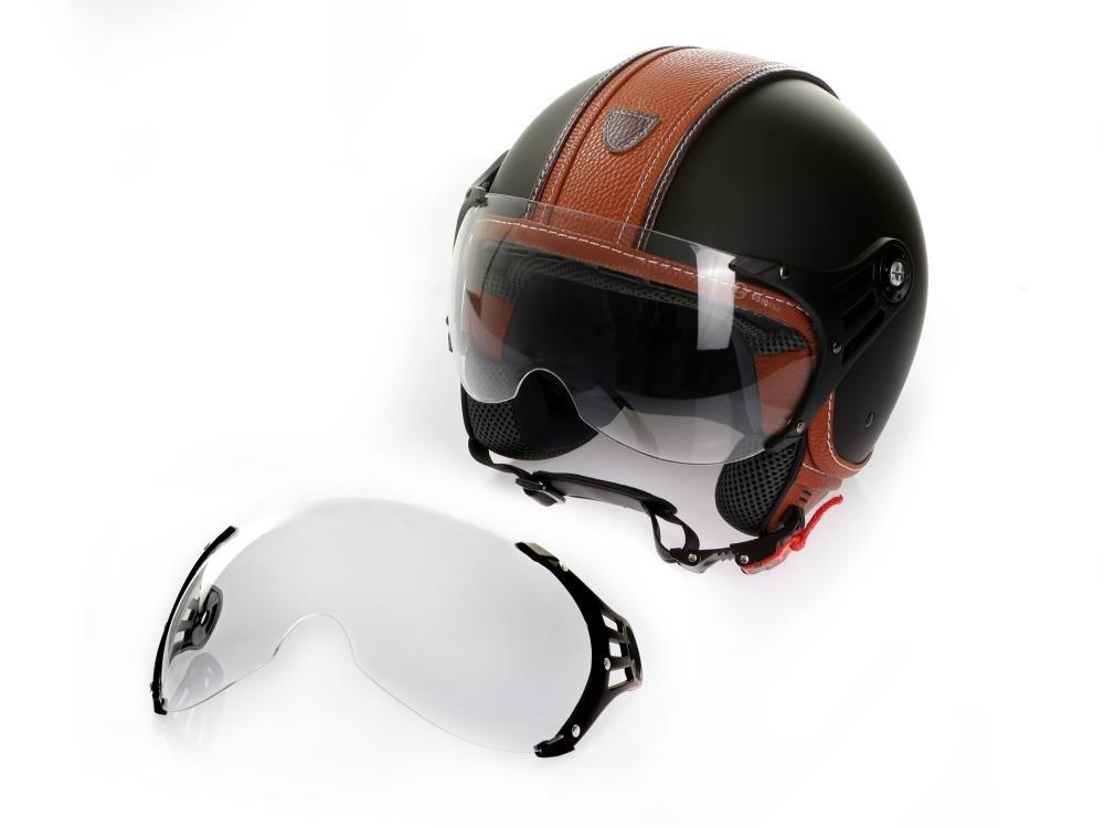 Zusatzvisier get/önt Motorradhelm Jethelm Rollerhelm CMX Hazel Gr/ö/ße XL matt schwarz mit braunem Leder und klarem Visier