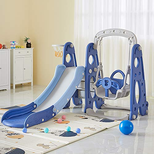 AMERLIFE 4 in 1 Slide and Swing Set - Kids Play Climber Slide Playset with Basketball Hoop Extra Long Slide Easy Set Up Baby Playset for Indoor Outdoor Backyard (Blue+White)