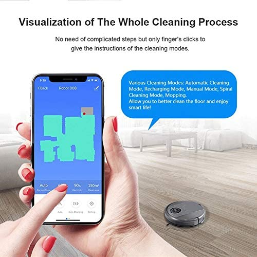Not applicable Robotique Aspirateur Robot, WiFi App Affichage de la Carte 3000pa Aspiration Smart Memory Humide Sec Mop, Pet Hair & Amp étage Tapis Nettoyage