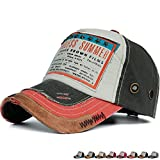 REDSHARKS Vintage Distressed Baseball Cap Trucker Hat Embroidered Patch Ventilation Eyelets Orange