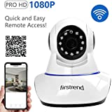 Firstrend 1080P HD Wireless IP Security Camera Pan Tilt with Two Way Audio and Night Vision For Pet Monitor, Nanny Camera, Baby Monitor