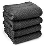 Sure-Max 4 Moving & Packing Blankets - Ultra Thick Pro - 80'' x 72'' (65 lb/dz weight) - Professional Quilted Shipping Furniture Pads Black