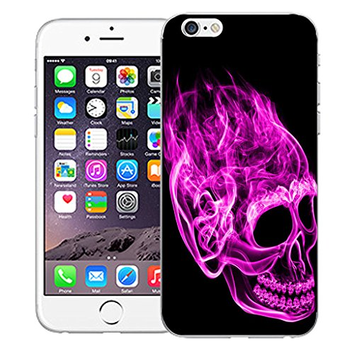 """Mobile Case Mate iPhone 6S 4.7"""" Silicone Coque couverture case cover Pare-chocs + STYLET - Inferno Skull Pink pattern (SILICON)"""