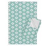 Roostery Aztec Tribal Native Southwest Mint Baby Kids Tea Towels Aztec - Pale Turquoise by Andrea Lauren Set of 2 Linen Cotton Tea Towels