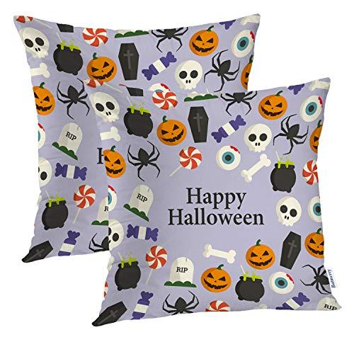 Batmerry Halloween Pillow Covers 18x18 inch Set of 2,Halloween Bone Cauldron Font Pumpkin Autumn Candy Cartoon Celebration Throw Pillows Covers Sofa Cushion Cover Pillowcase -
