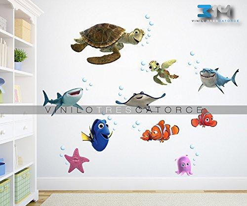 Vinilo Decorativo Nemo -i 01 Calcoman'a De Pared Peces Pescados Acuario Animalitos del Mar Sticker Mural Para La...