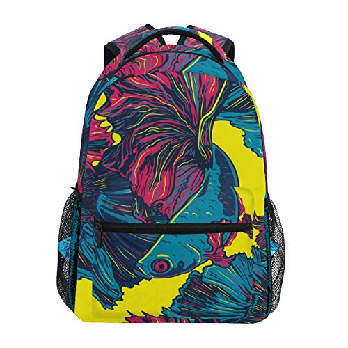 Siamese Light - LONSANT Colorful Betta Fish Seamless Pattern Siamese Lightweight School Backpack Students College Bag Travel Hiking Camping Bags