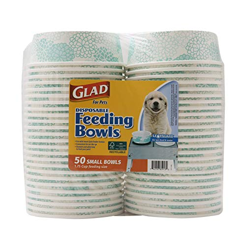 Glad for Pets Disposable Feeding Bowls   Small Dog Bowls in Teal Pattern   1.75 Cup Feeding Size, 50 Count