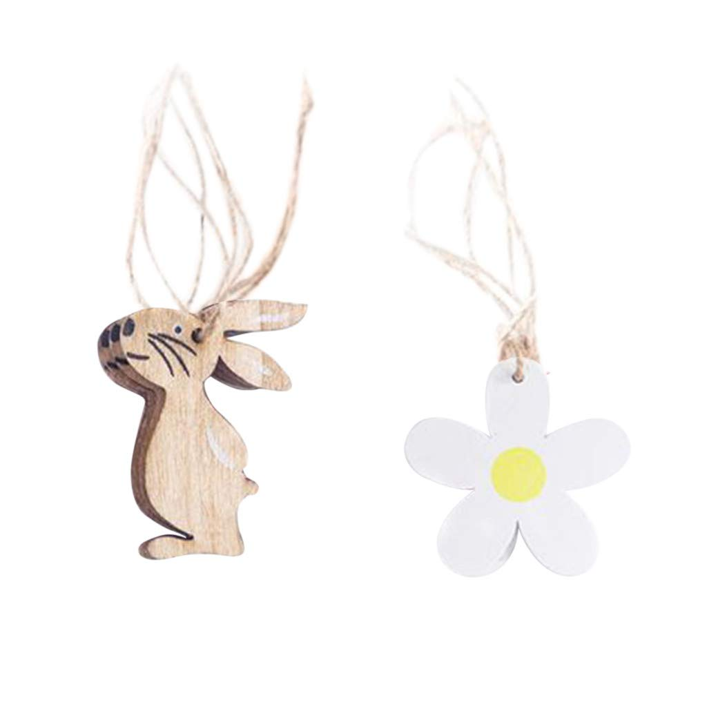 IEasⓄn Home Decor,Cute Wooden Easter Bunny Chicken Eggs Home Ornaments Decoration Supplies for Easter Gift IE-NN2326 (A)