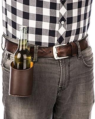 Compra Levivo Cartuchera para cerveza / cartuchera de cuero para botellas y latas de hasta 0, 5 litros; cartuchera para cerveza para fijar al cinturón, Marrón en Amazon.es