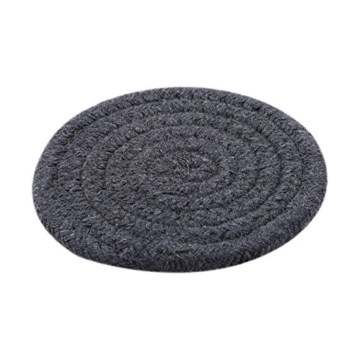 Fabric Woven Round Place Mats Braided Place Mat Table Pads Living Room Bedroom Balcony Table Decoration Tools Color Dark Gray (Spoon Braided)