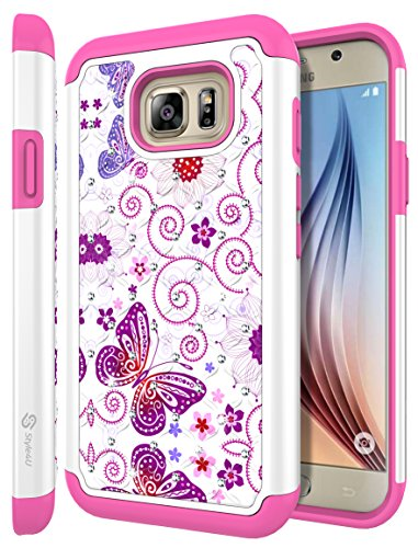 Galaxy S7 Active Case, S7 ACTIVE Case, Style4U Studded Rhinestone Crystal Bling Hybrid Armor Case Cover for Samsung Galaxy S7 Active [Not For Galaxy S7] with 1 Style4U Stylus [White/Hot Pink]