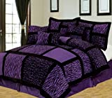 Purple and Black Comforter Set Empire Home Safari 7-Piece Comforter set- All Colors / All Sizes ON SALE Till End of The Month (Queen Size, Purple)