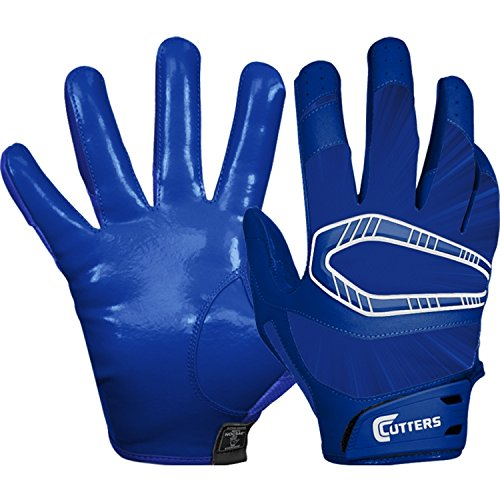 Receiver Cutters Football Glove (Cutters Rev Pro Receiver Gloves - Solid Royal - Adult Small)