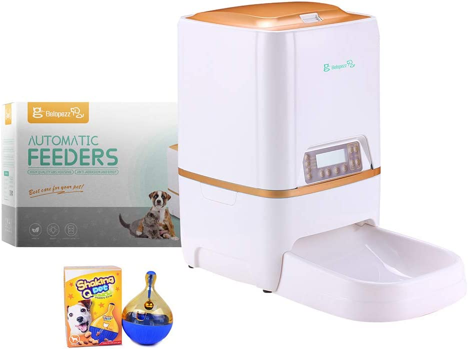 BELOPEZZ 6Liters Smart Pet Automatic Feeders for Dog and Cat Food Dispenser with Timer Programmable Up to 4 Meals a Day