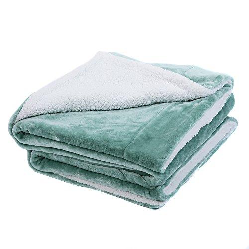 Minty Green - HONEYMOON HOME FASHIONS Sherpa Throw Blanket Fuzzy Fluffy Plush Soft Warm Reversible Blanket 50