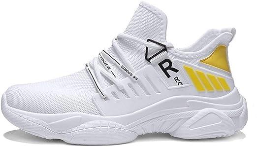 W-XX - Zapatillas Deportivas de Malla Transpirable para Hombre, White+Yellow, EU43/UK8/US9.5: Amazon.es: Hogar