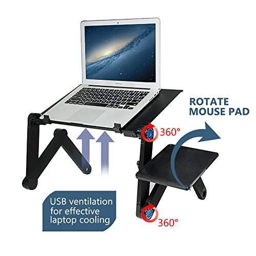 Portable Laptop Stand-Kapoo Portable Laptop Desk Foldable Laptop Stand Adjustable Laptop Table Ergonomic Bed Tray with Two CPU Cooling Fans & EXTRA Mouse Pad - Adjustable Computer Ergonomic Desk