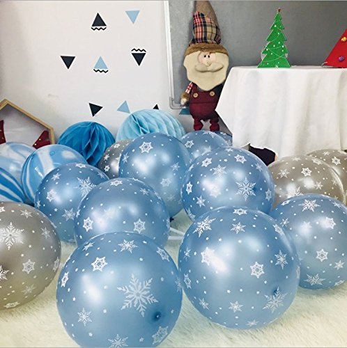 Ode-Rin Art 100ct PACK 12'' Snowflake Latex Pearized Blue Balloon For Photo Shoot Birthday Wedding Party Festival Event Carnival Christmas New Year Decorations Wall Decor Home Decor by Ode-Rin