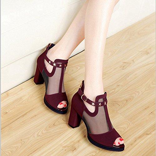 Sandals ZHIRONG Women's Fashion Fish Mouth Thick Heel Net Yarn Hollow High Heels Roman Shoes 8CM (Color : Black, Size : EU35/UK3/CN34) Dark Red