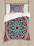 Ambesonne Arabian Duvet Cover Set Twin Size, Oriental Original Old Style Ornate Persian Pattern with Victorian Artsy Vintage, Decorative 2 Piece Bedding Set with 1 Pillow Sham, Red Grey Teal