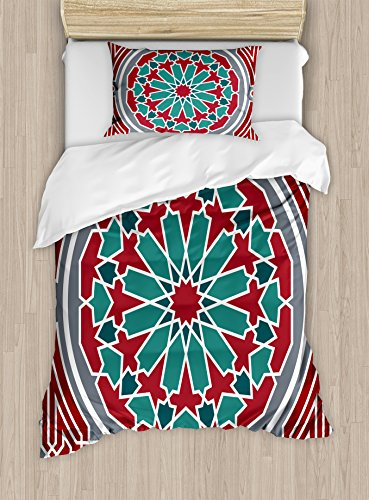 Ambesonne Arabian Duvet Cover Set Twin Size, Oriental Original Old Style Ornate Persian Pattern with Victorian Artsy Vintage, Decorative 2 Piece Bedding Set with 1 Pillow Sham, Red Grey Teal by Ambesonne