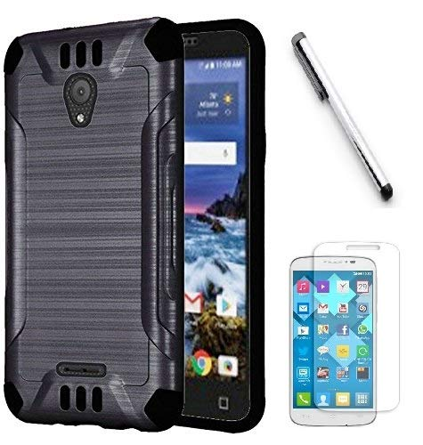 Luckiefind Case Compatible with Cricket Wave (2018), Slim Brush Texture Hybrid Defender Armor Protective Case Cover Accessory - Faceplate Texture Case Black
