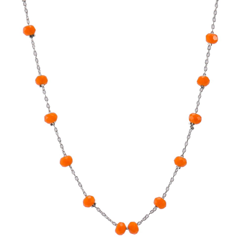 Cddos Hand-made 2 mm Crystal Bead Necklace in Silver or 14K Gold (Orange, stainless-steel)