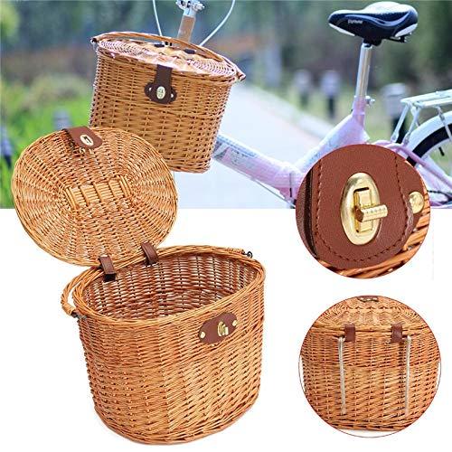 SeedWorld Storage Baskets - Wicker Bike Front Basket with Lid Bicycle Handlebar Hanging Willow-Baskets Shopping Stuff Box Pets Fruits Picnic Panier Osier 1 PCs -