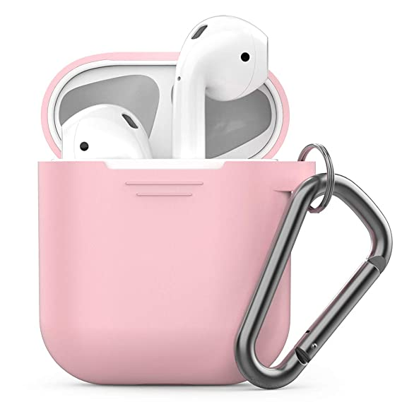 Pod Skinz Keychain Air Pods Case With Carabiner Compatible With Apple Airpods 1 & Air Pods 2 [Front Led Not Visible] (Pretty In Pink) by Keybudz