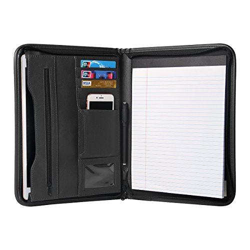 TYSON Padfolio Portfolio Leather Zippered Writing Pad with Pockets and Card Holders for Resume Document and Notebook, 12.9 Inch (Desk Portfolio)