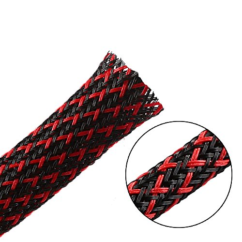 25ft-1/4' PET Expandable Braided Sleeving –Blackred –Alex Tech cable management sleeve cord organizer for wrap & protect cables
