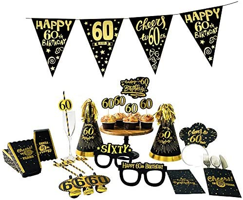 60th Birthday Decorations for Hats - Cone Hats with Gold Flash Glitter, Black Gold Theme 60th Birthday Party Supplies. 60th Birthday Party Favors for Men. 6 Count