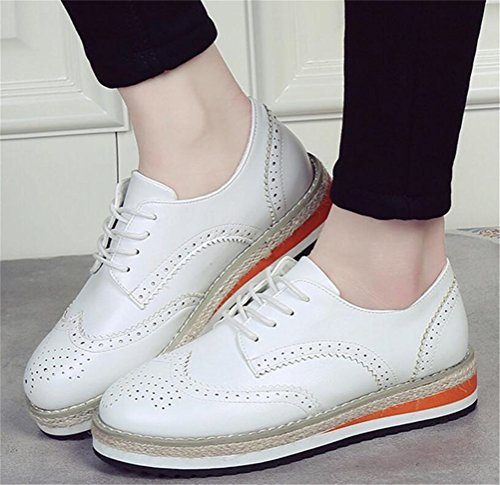 Chaussures Oxford Pour Femme, Satuki Casual Plate-forme Lacent Robe Bas Talon Robe Blanche
